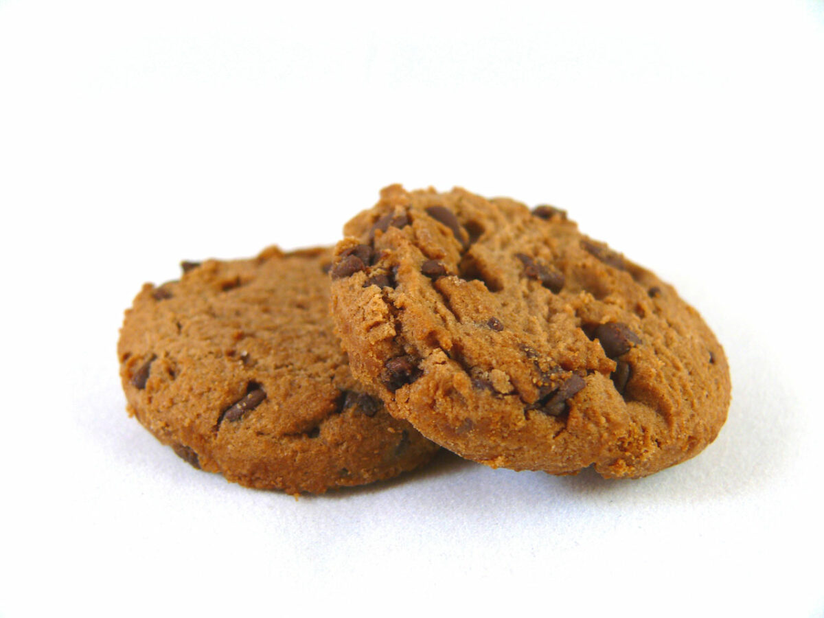 Two cookies on a white background